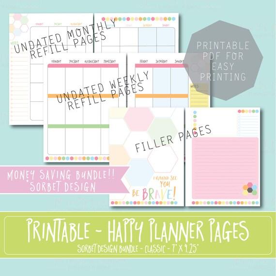 Happy Planner Calendar Refills : Happy planner printable refill bundle inserts