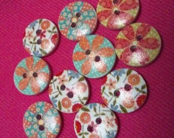 Wooden Bohemian Two Hole Buttons 10 per pkg