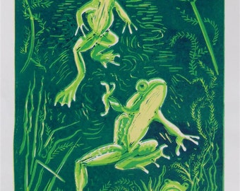 Frogs limited edition lino print
