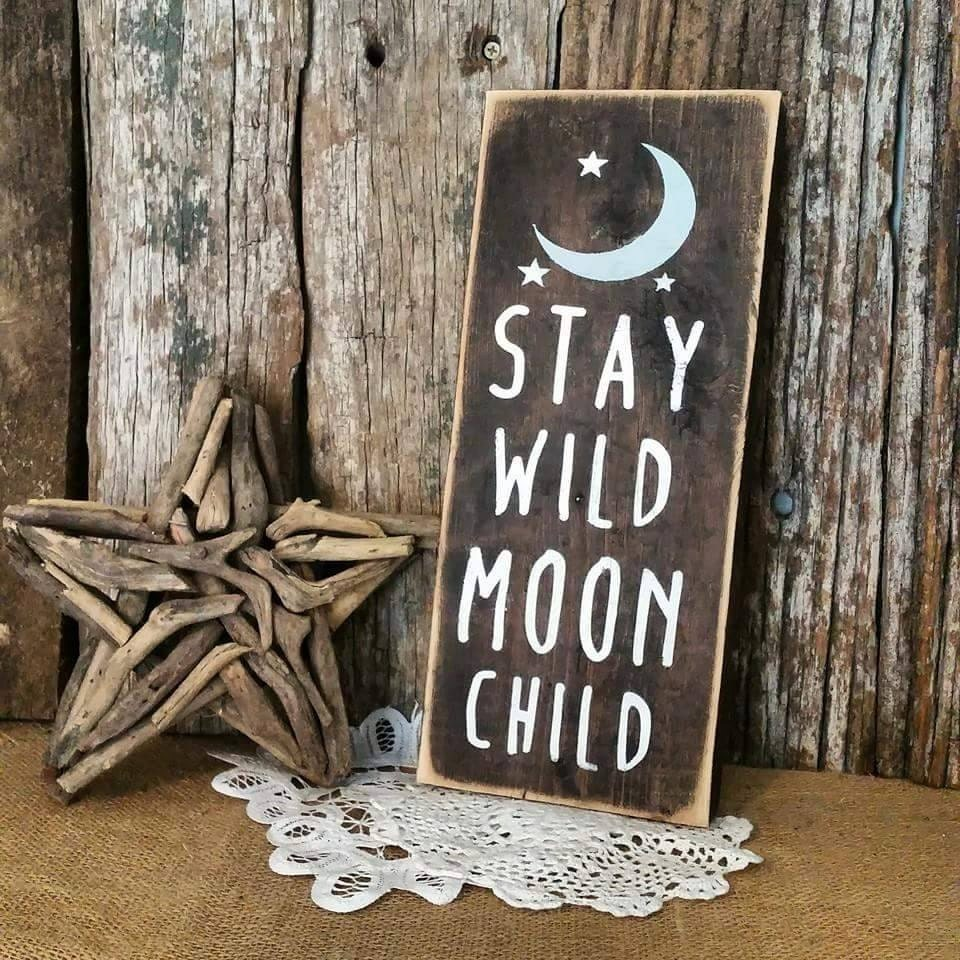 Stay Wild Moon Child Wood Sign Rustic Nursery Decor