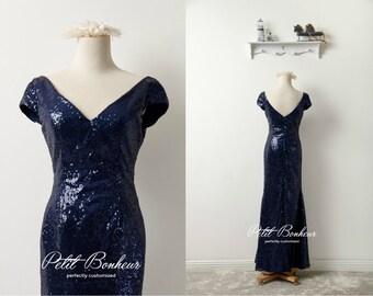 Navy sequin v-neck prom dress, bridesmaid dress, custom dresses, Navy sequin dress, Long Formal dress, custom dress, evening dress
