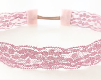 Mauve pink stretchy lace baby toddler headband