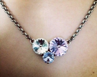 CLUSTER CRYSTAL - 3 stone cluster necklace 14mm/12mm/8mm - select any color - nickel free