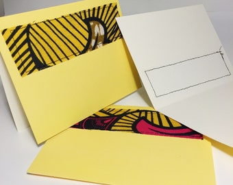 Yellow Print Greeting Card // Wax Print Blank Card // With Envelope