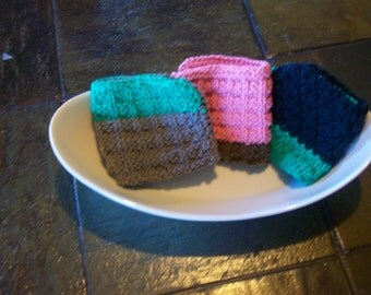 Set of 3 hand knit dishcloths