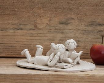 Teacher Gift Children Love Reading Books Ceramic Sculpture Figurine Unique Handmade