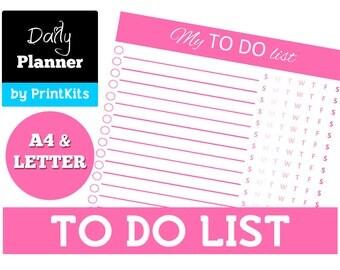 Printable To Do List  Planner To-do List Daily To Do List Letter & A4 Pink To Do List Printable Planner Editable Pdf Check List PK_PL004