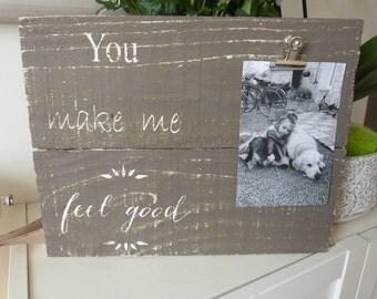 Clipboard frame. Reclaimed wood photo frame. Cadre photo. Pèle mele en bois recyclé