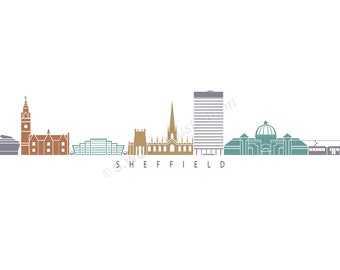 Sheffield Silhouette Design Colour - Ltd Giclee Print