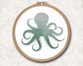 Octopus Beach Art Green Blue Watercolor Counted Cross Stitch or Needle Point Pattern - PDF Digital Download