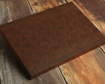 Large Walnut End Grain Cutting Board Butcher Block, Manly Cutting Board, Big Walnut Carving Board