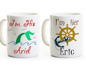 Ariel and Eric Coffee Mugs - Inspired Gift for Couples -His and Her Anniversary Wedding Gift -Engagement Gift -Coffee Mugs