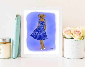 Digital Print - Fashion Illustration - Doxie - 1950s - DIGITAL ONLY - Instant Download