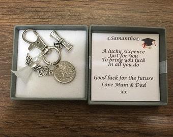 Lucky sixpence graduation keyring keepsake