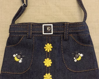 Denim Skirt Purse - Winnie the Pooh, Bees, and Flowers