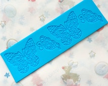 Blue Butterfly lace Mold Silicone, Chocolate Mold, Fondant mold, Cake mold, Decorating Tools, Baking mold, resin mold, clay mold, lace mold