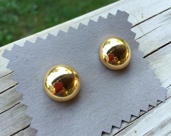 Vintage Gold Bubble Stud Earrings