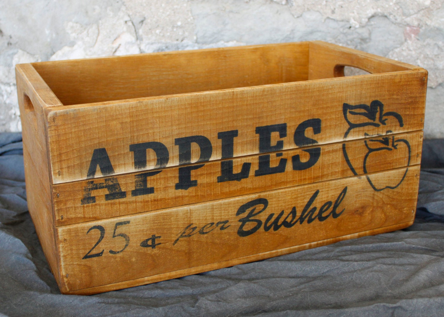 Apple crate wood box storage vintage style kitchen for How to make apple crates