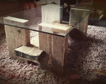 Glass & Scaffold Coffee Table