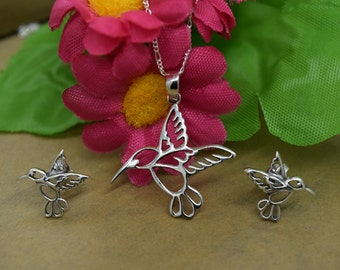 Sterling Silver Hummingbird Set Includes Chain