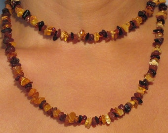 "Natural Baltic amber necklace with multi-colored ""rainbow"""