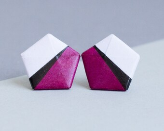 Paper studs - minimalism Origami - violet