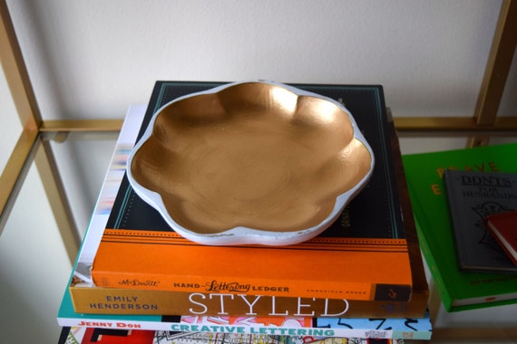 Gold and White wood jewelry dish