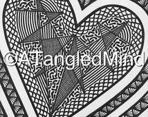 Original Zentangle Valentine's Day Heart Ink Drawing, Instant Digital Download / Printable Adult Coloring Page