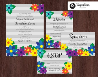 Flowers Suite - Printable wedding invitations - personalized wedding invitation set