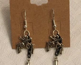 Old west pistol earrings