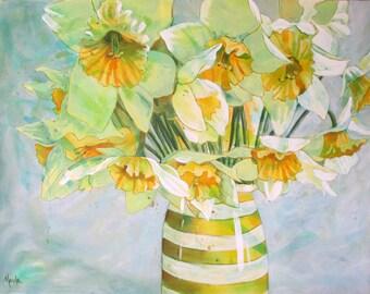 Large Original Fine Art Contemporary Flower Bouquet Painting on canvas