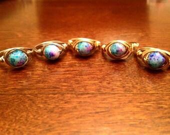 Blue stone rings