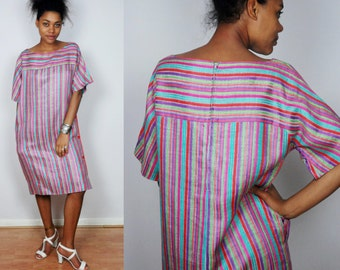vintage CELINE PARIS striped day dress S M