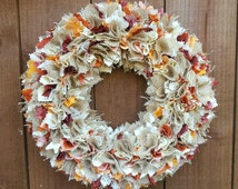 Rustic Autumnal Wreath Shabby Chic Style~Hanging Door Wreath for the Home~Wall Hanging Decoration~Farmhouse Hessian Wreath~Fall Wreath