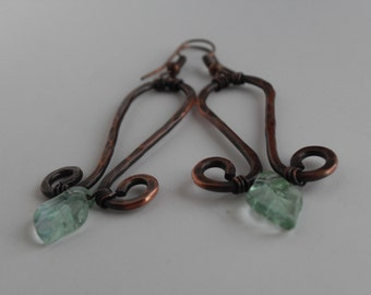Hammered Copper and Glass Leaf Earrings