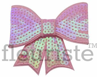 PINK SPARKLE 3 inch Sequin Bows, Mini Sequin Bows, Mini Bows, Sparkly Bows, Fabric Bows, DIY Bows, Soft Bows, Wholesale Bows, Diy Headband