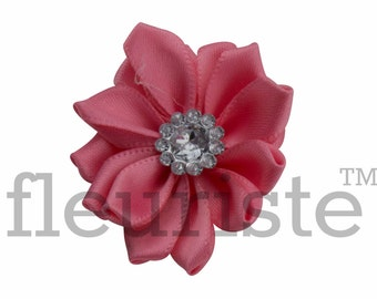 CORAL Ribbon Flower With rhinestone center, Satin flower, Fabric rose, Rolled Rosette, Wholesale Flower, Fabric Flower, Satin Flower, 3pc