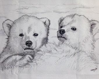hand drawn polar bear cubs pillow cover