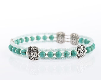 Turquoise Stones Seed Beads Bangle
