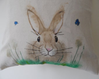 Hand painted rabbit tote bag