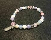 WOMEN bracelet - Funchal - Quartz pink/stone Moonstone / chalcedony/Agate / aquamarine / Crystal - healing - 6 mm - model