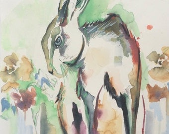 Hare // Original Watercolor Painting // Unframed Illustration