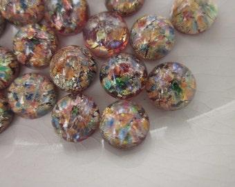 23 Vintage Dichroic Glass Cabochons, Multi-colored Confetti, 7mm round