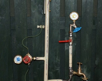 Steampunk ceiling or wall lamp, industrial lamp, industrieel pipe lamp Actief