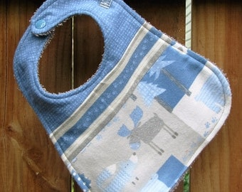Bib - Baby Boy Bib - Woodland Creatures in Blue and Gray Baby Bib