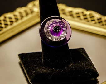 Hip Purple, and Silver Button Ring size 8