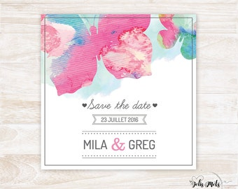 Save the Date wedding Butterfly Watercolour