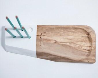 ALBERT // support crayons et objets pour le bureau / Noyer massif / Desktop tray and pencil holder / Solid walnut