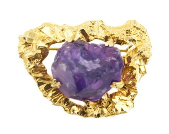 Vintage Gold Nugget Brooch with Quartz, Purple Quartz Brooch, Large Gold Brooch, Gold and Purple Brooch