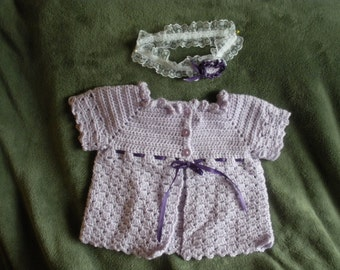 Baby girl sacque and headband size 6 to 9 months B0001
